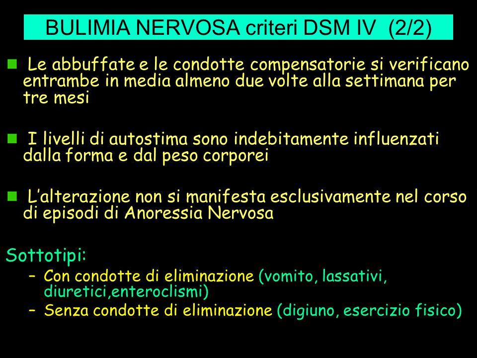 BULIMIA NERVOSA criteri DSM IV (2/2) Le abbuffate e le condotte compensatorie si verificano entrambe in media almeno due volte alla settimana per tre