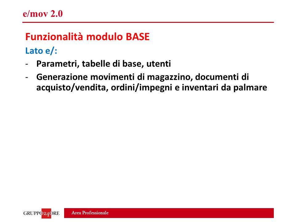 Area Professionale e/mov 2.0 Funzionalità modulo BASE Lato e/: -Parametri, tabelle di base, utenti -Generazione movimenti di magazzino, documenti di acquisto/vendita, ordini/impegni e inventari da palmare