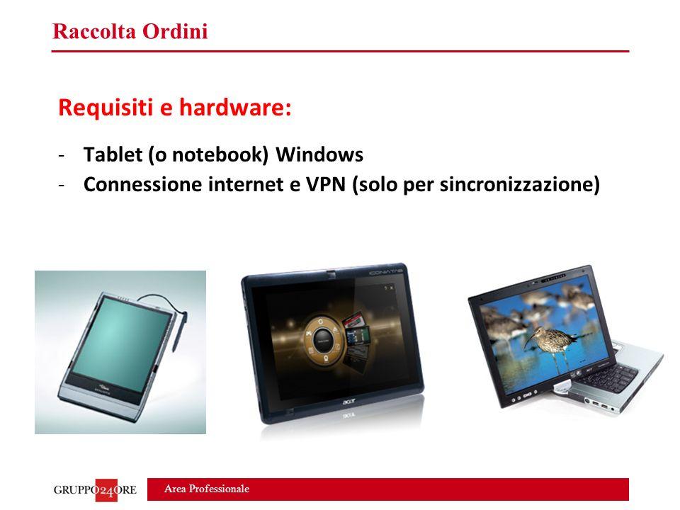 Area Professionale Raccolta Ordini Requisiti e hardware: -Tablet (o notebook) Windows -Connessione internet e VPN (solo per sincronizzazione)