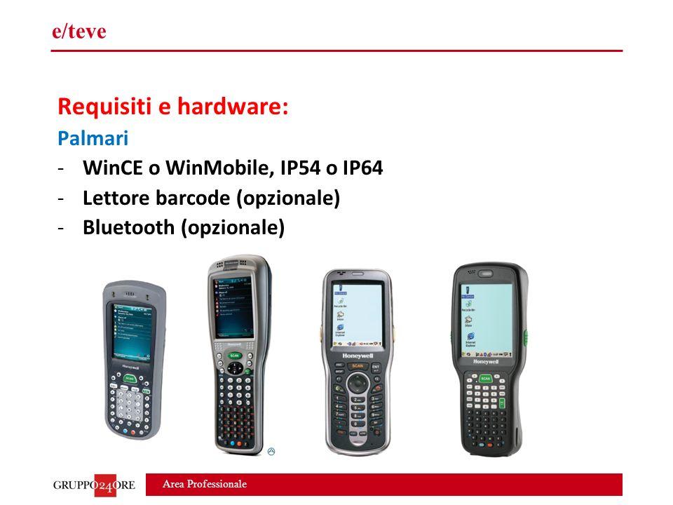 Area Professionale e/teve Requisiti e hardware: Palmari -WinCE o WinMobile, IP54 o IP64 -Lettore barcode (opzionale) -Bluetooth (opzionale)