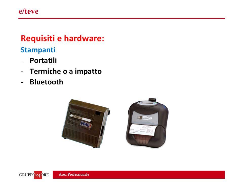 Area Professionale e/teve Requisiti e hardware: Stampanti -Portatili -Termiche o a impatto -Bluetooth