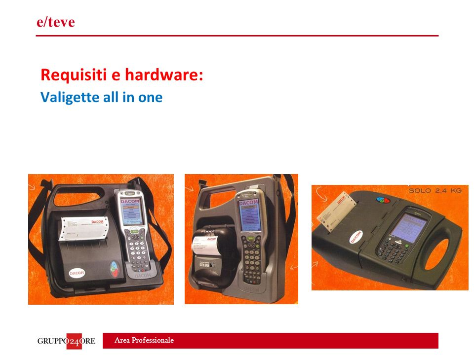 Area Professionale e/teve Requisiti e hardware: Valigette all in one