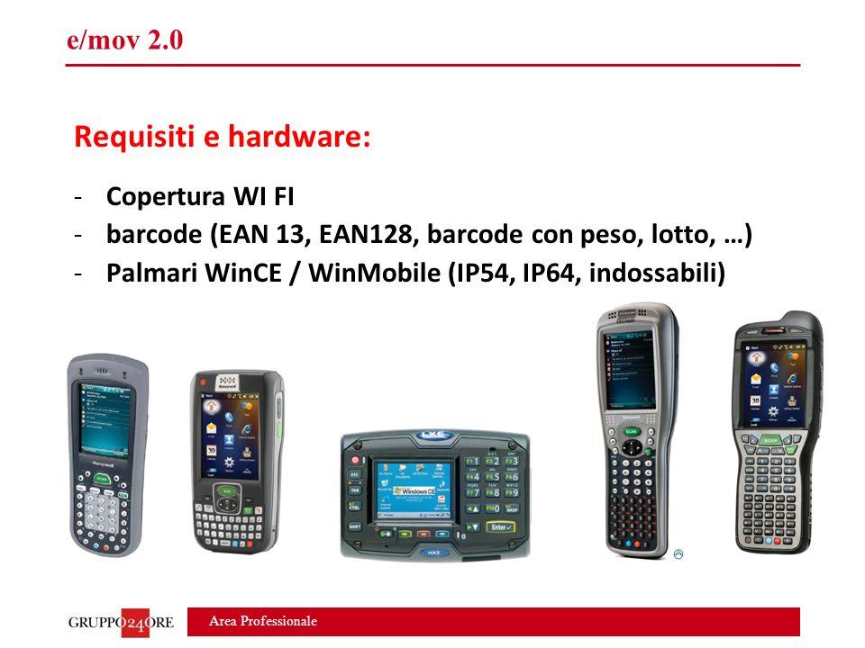 Area Professionale e/mov 2.0 Requisiti e hardware: -Copertura WI FI -barcode (EAN 13, EAN128, barcode con peso, lotto, …) -Palmari WinCE / WinMobile (IP54, IP64, indossabili)
