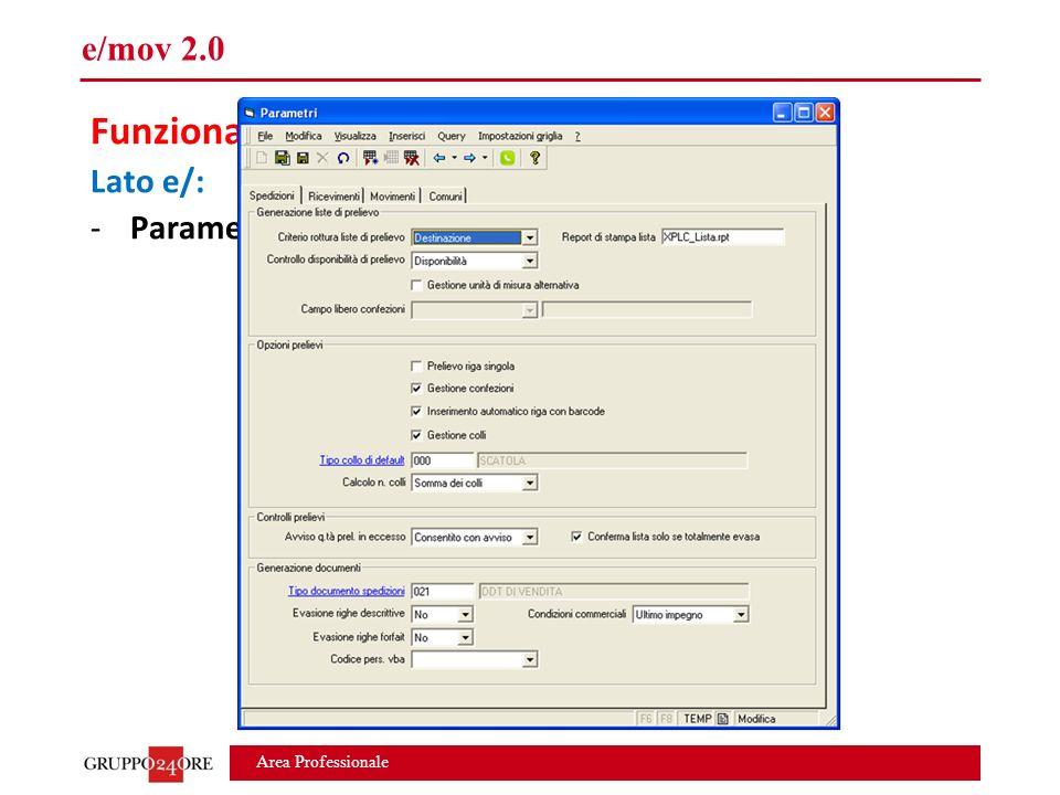 Area Professionale e/mov 2.0 Funzionalità modulo BASE Lato e/: -Parametri, tabelle di base, utenti