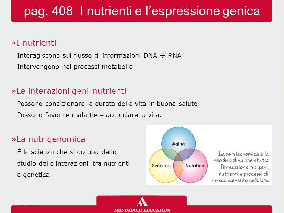 »I nutrienti Interagiscono sul flusso di informazioni DNA  RNA Intervengono nei processi metabolici. »Le interazioni geni-nutrienti Possono condizion
