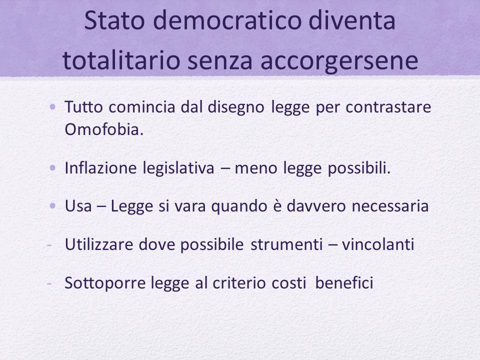 Stato democratico diventa totalitario senza accorgersene Tutto comincia dal disegno legge per contrastare Omofobia. Inflazione legislativa – meno legg