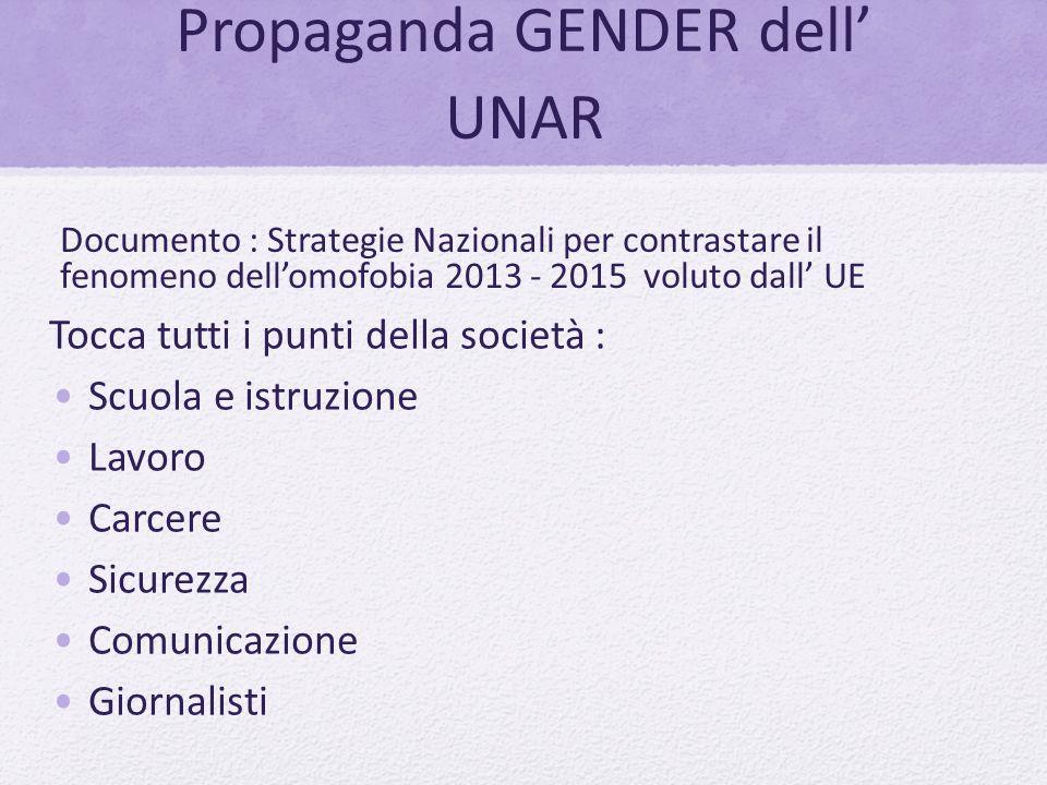Propaganda GENDER dell' UNAR Tocca tutti i punti della società : Scuola e istruzione Lavoro Carcere Sicurezza Comunicazione Giornalisti Documento : St