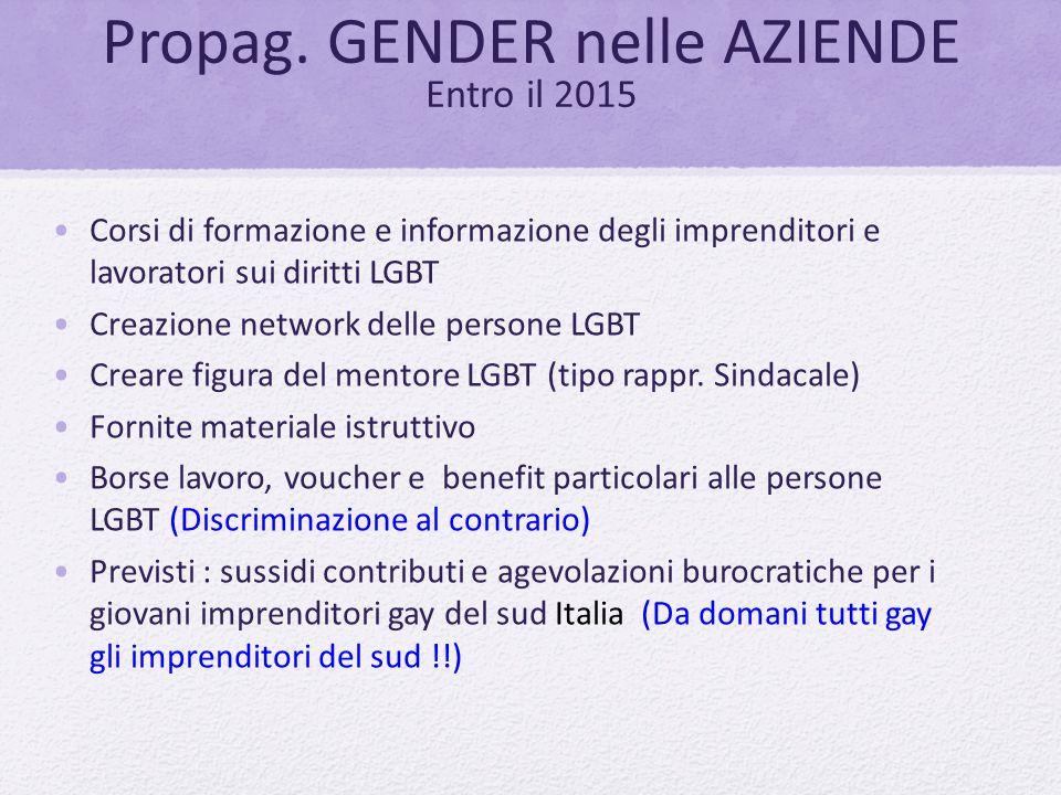 Propag. GENDER nelle AZIENDE Entro il 2015 Corsi di formazione e informazione degli imprenditori e lavoratori sui diritti LGBT Creazione network delle