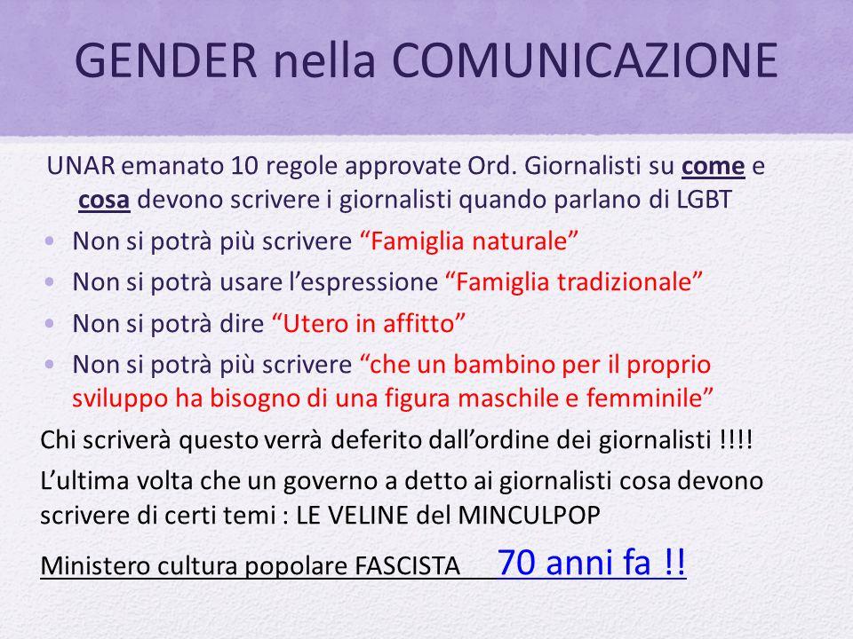 GENDER nella COMUNICAZIONE UNAR emanato 10 regole approvate Ord. Giornalisti su come e cosa devono scrivere i giornalisti quando parlano di LGBT Non s
