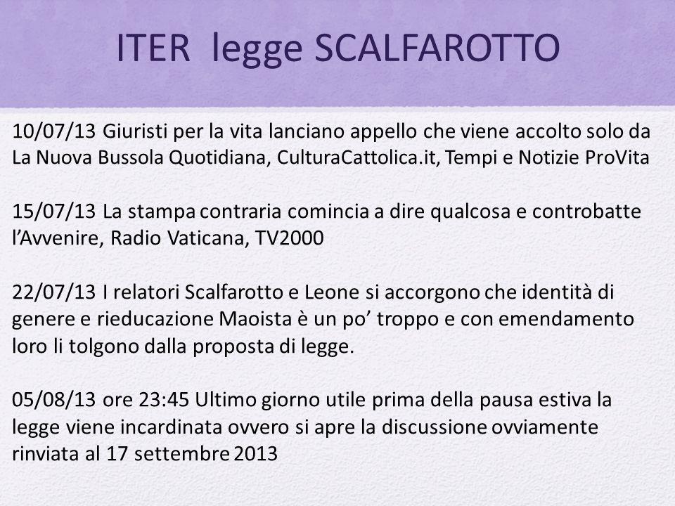 ITER legge SCALFAROTTO 10/07/13 Giuristi per la vita lanciano appello che viene accolto solo da La Nuova Bussola Quotidiana, CulturaCattolica.it, Temp