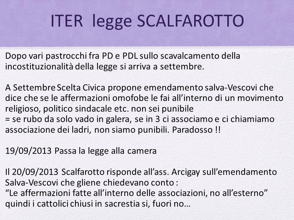ITER legge SCALFAROTTO Dopo vari pastrocchi fra PD e PDL sullo scavalcamento della incostituzionalità della legge si arriva a settembre. A Settembre S