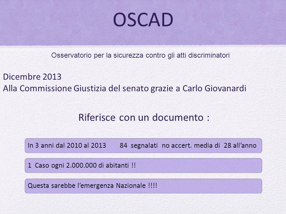 OSCAD Osservatorio per la sicurezza contro gli atti discriminatori Dicembre 2013 Alla Commissione Giustizia del senato grazie a Carlo Giovanardi Rifer