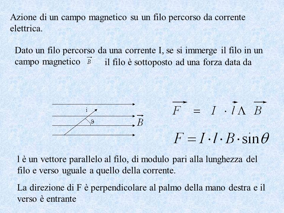 Azione di un campo magnetico su un filo percorso da corrente elettrica.