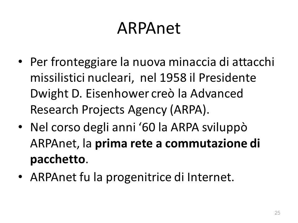 ARPAnet Per fronteggiare la nuova minaccia di attacchi missilistici nucleari, nel 1958 il Presidente Dwight D. Eisenhower creò la Advanced Research Pr