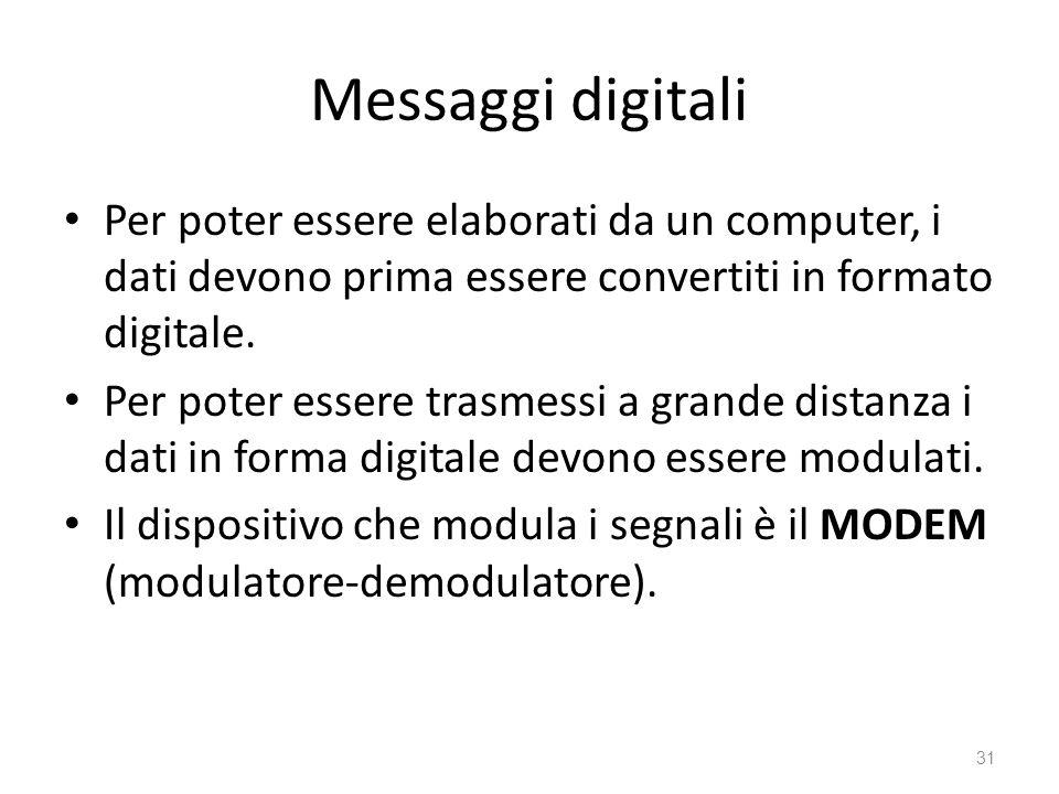 Messaggi digitali Per poter essere elaborati da un computer, i dati devono prima essere convertiti in formato digitale. Per poter essere trasmessi a g