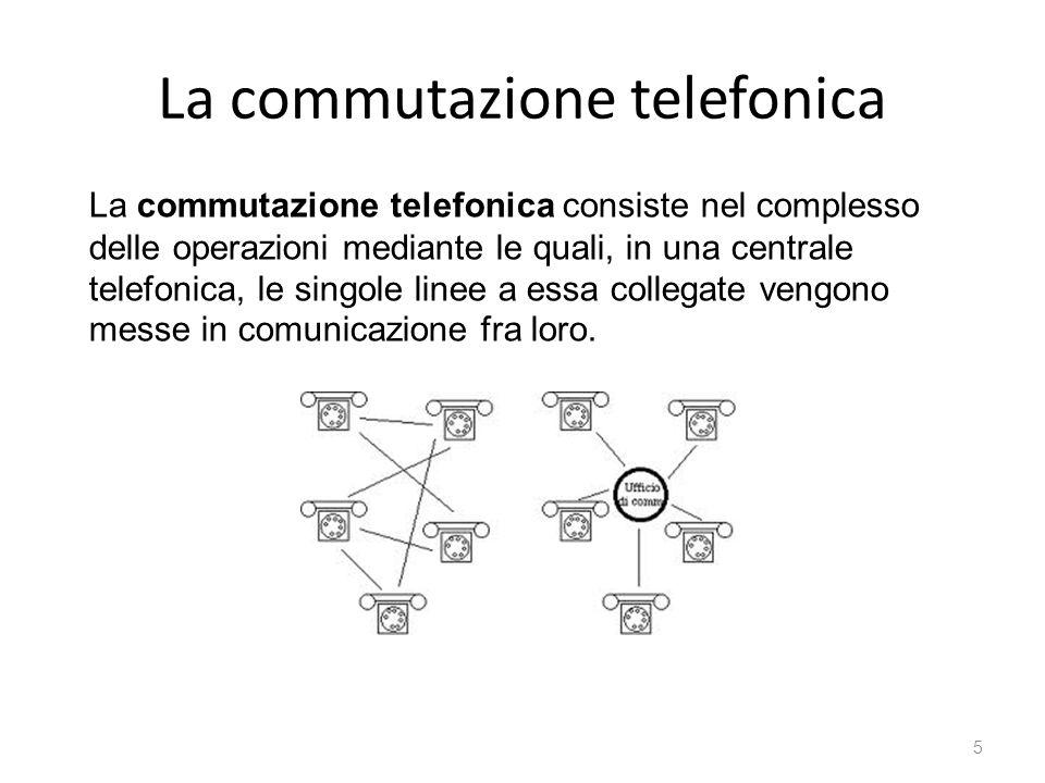 La commutazione telefonica La commutazione telefonica consiste nel complesso delle operazioni mediante le quali, in una centrale telefonica, le singol