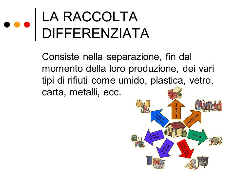 LA RACCOLTA DIFFERENZIATA Consiste nella separazione, fin dal momento della loro produzione, dei vari tipi di rifiuti come umido, plastica, vetro, car