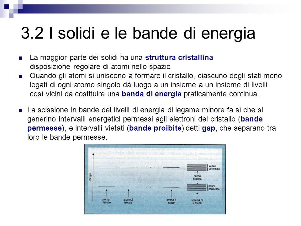 La scissione in bande dei livelli di energia di legame minore fa sì che si generino intervalli energetici permessi agli elettroni del cristallo (bande