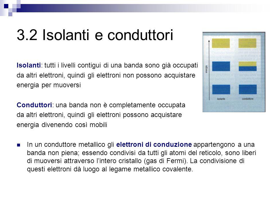3.2 Isolanti e conduttori Isolanti: tutti i livelli contigui di una banda sono già occupati da altri elettroni, quindi gli elettroni non possono acqui