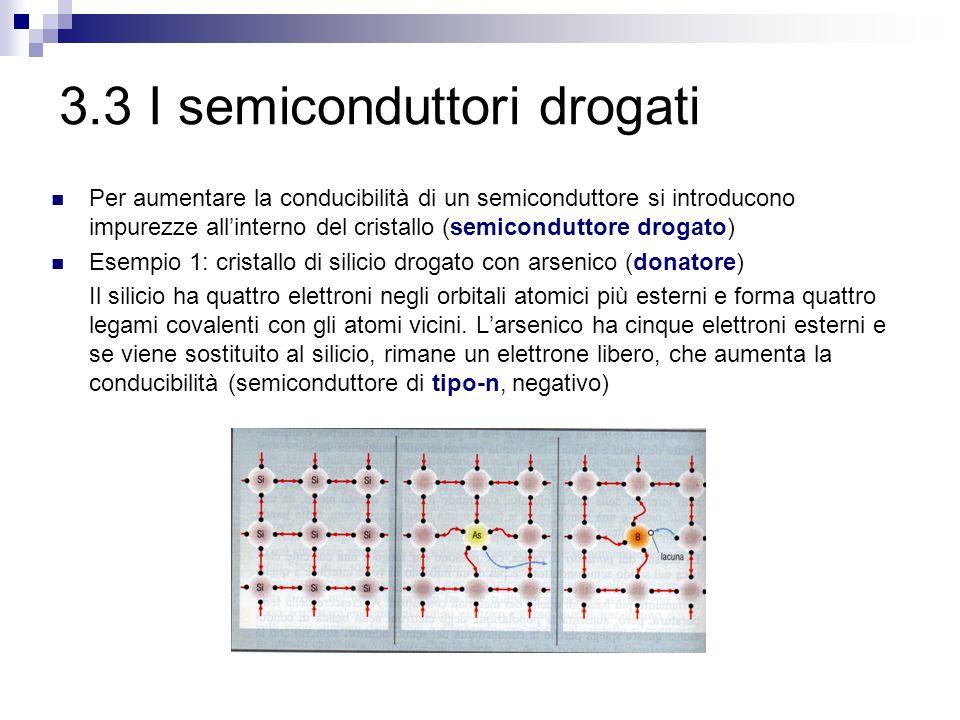 3.3 I semiconduttori drogati Per aumentare la conducibilità di un semiconduttore si introducono impurezze all'interno del cristallo (semiconduttore drogato) Esempio 1: cristallo di silicio drogato con arsenico (donatore) Il silicio ha quattro elettroni negli orbitali atomici più esterni e forma quattro legami covalenti con gli atomi vicini.