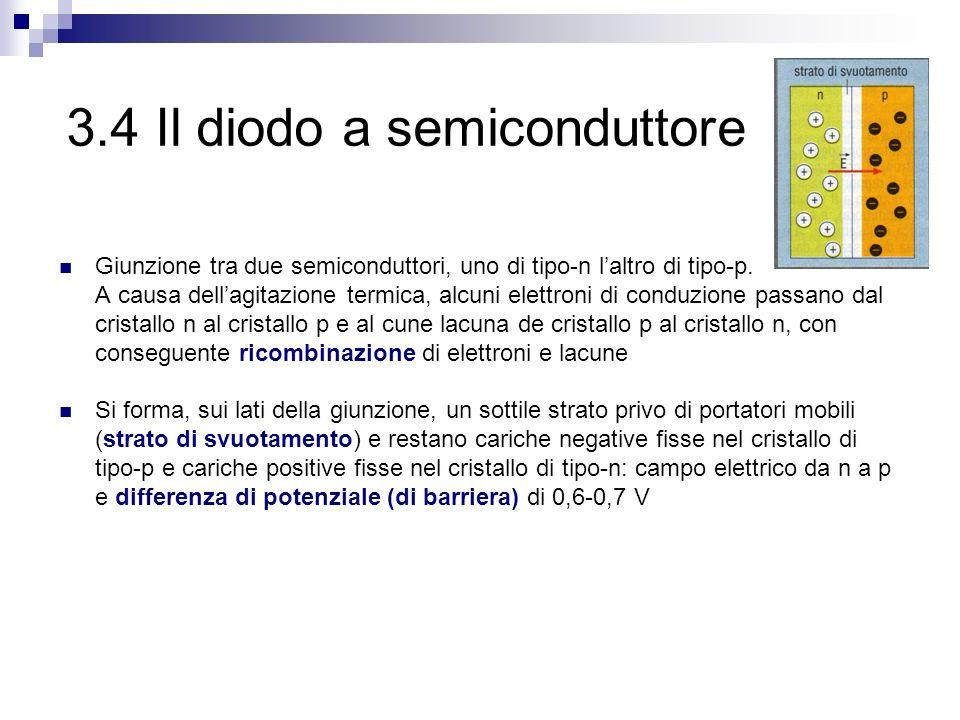 3.4 Il diodo a semiconduttore Giunzione tra due semiconduttori, uno di tipo-n l'altro di tipo-p. A causa dell'agitazione termica, alcuni elettroni di