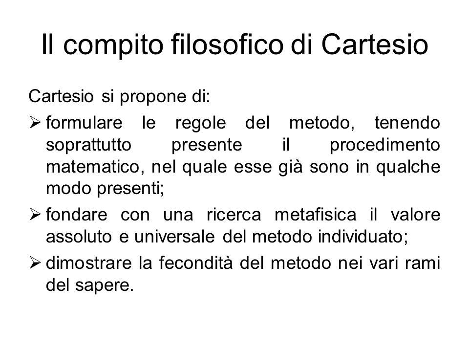 Il compito filosofico di Cartesio Cartesio si propone di:  formulare le regole del metodo, tenendo soprattutto presente il procedimento matematico, n