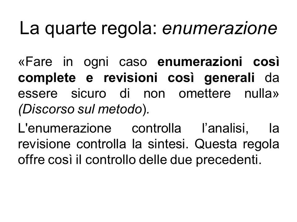 La quarte regola: enumerazione «Fare in ogni caso enumerazioni così complete e revisioni così generali da essere sicuro di non omettere nulla» (Discor