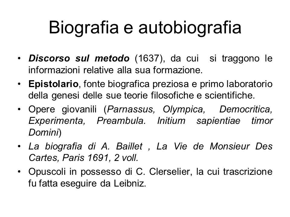 Biografia e autobiografia Discorso sul metodo (1637), da cui si traggono le informazioni relative alla sua formazione. Epistolario, fonte biografica p