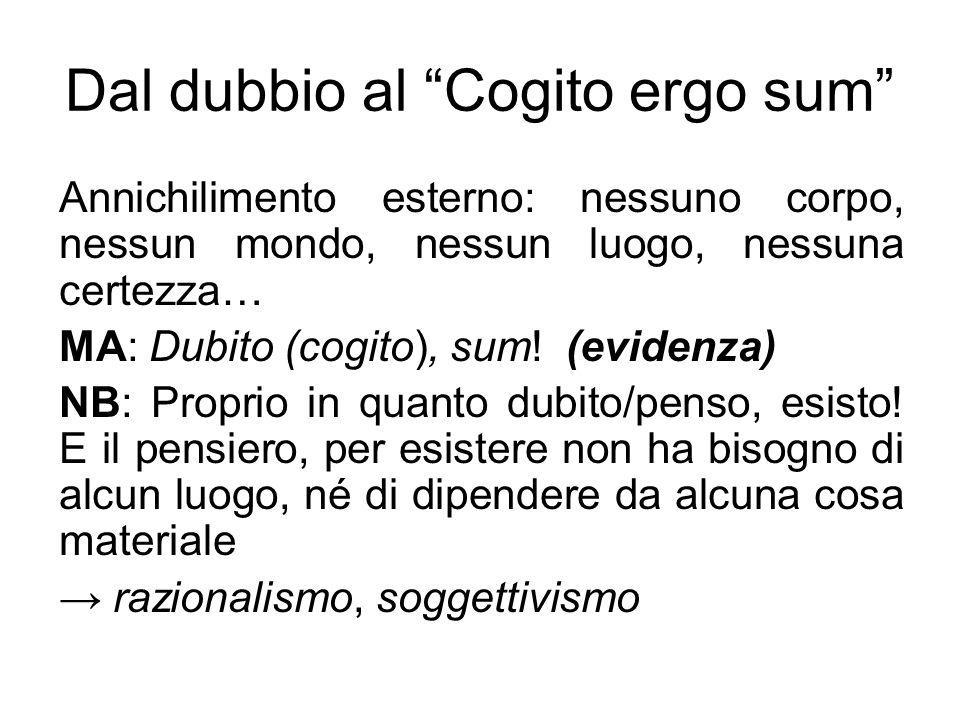 """Dal dubbio al """"Cogito ergo sum"""" Annichilimento esterno: nessuno corpo, nessun mondo, nessun luogo, nessuna certezza… MA: Dubito (cogito), sum! (eviden"""