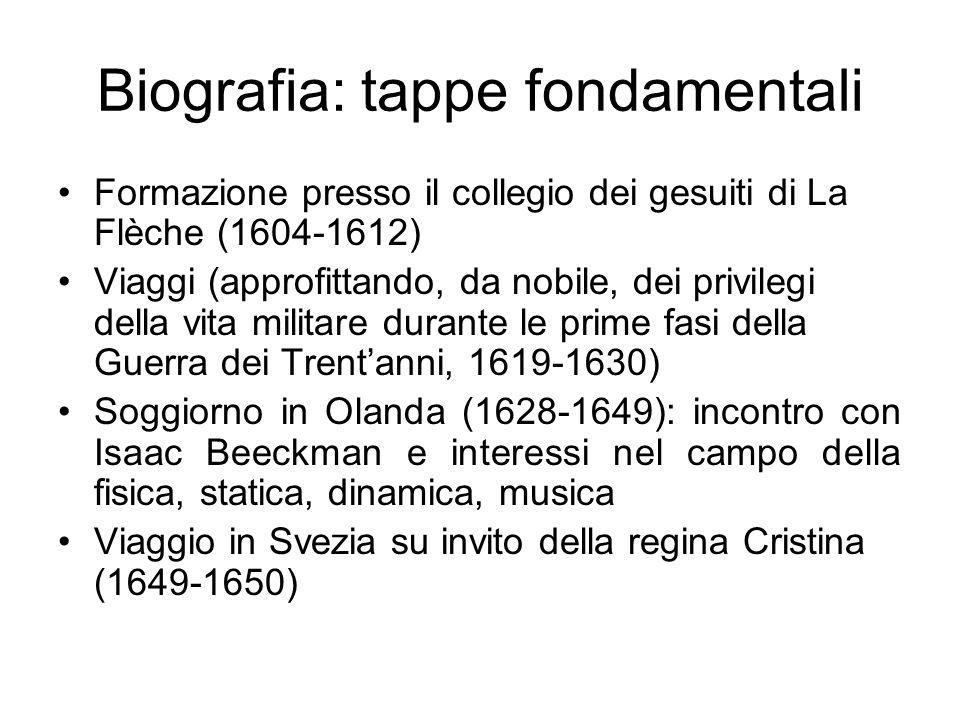 Biografia: tappe fondamentali Formazione presso il collegio dei gesuiti di La Flèche (1604-1612) Viaggi (approfittando, da nobile, dei privilegi della