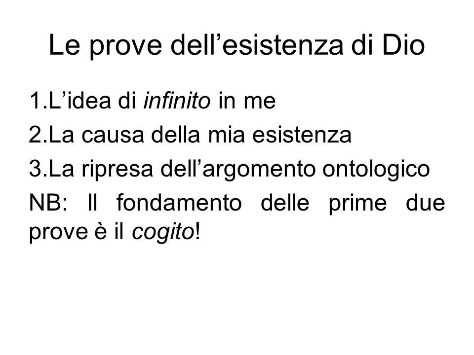 Le prove dell'esistenza di Dio 1.L'idea di infinito in me 2.La causa della mia esistenza 3.La ripresa dell'argomento ontologico NB: Il fondamento dell