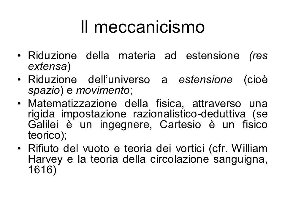 Il meccanicismo Riduzione della materia ad estensione (res extensa) Riduzione dell'universo a estensione (cioè spazio) e movimento; Matematizzazione d