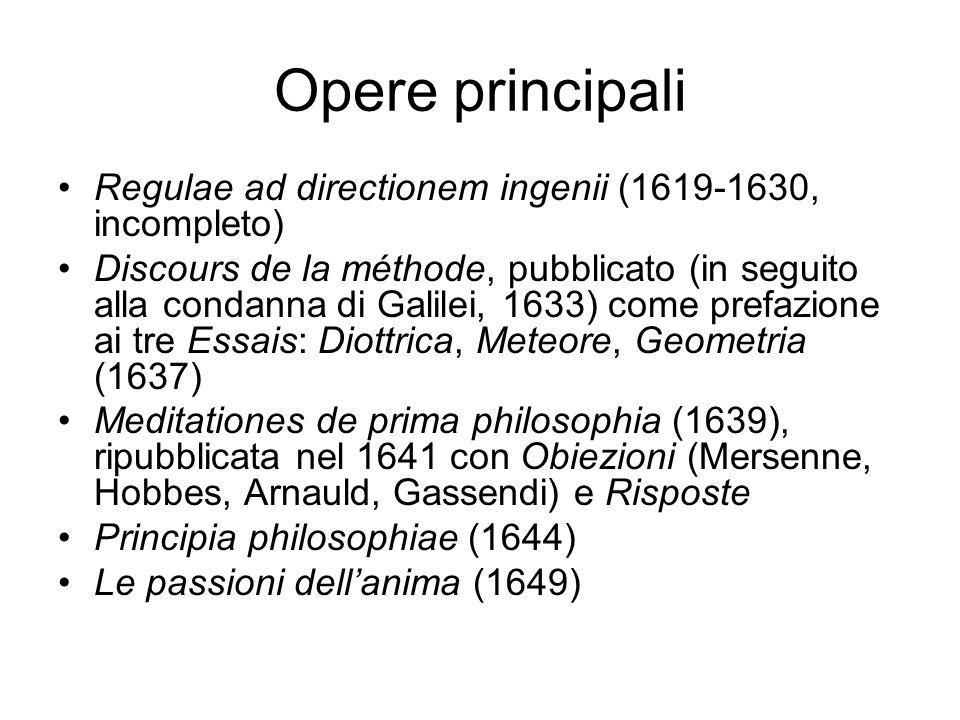 Opere principali Regulae ad directionem ingenii (1619-1630, incompleto) Discours de la méthode, pubblicato (in seguito alla condanna di Galilei, 1633)