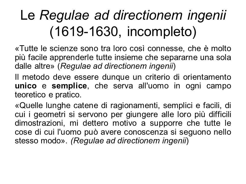 Le Regulae ad directionem ingenii (1619-1630, incompleto) «Tutte le scienze sono tra loro così connesse, che è molto più facile apprenderle tutte insi