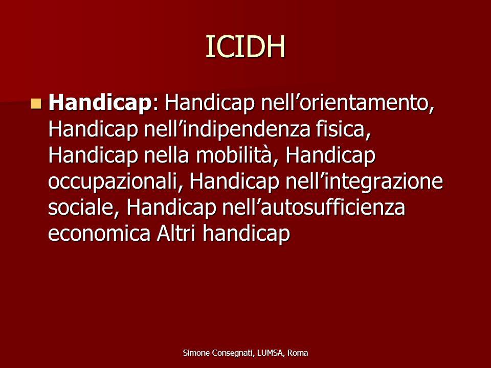 ICIDH Handicap: Handicap nell'orientamento, Handicap nell'indipendenza fisica, Handicap nella mobilità, Handicap occupazionali, Handicap nell'integraz
