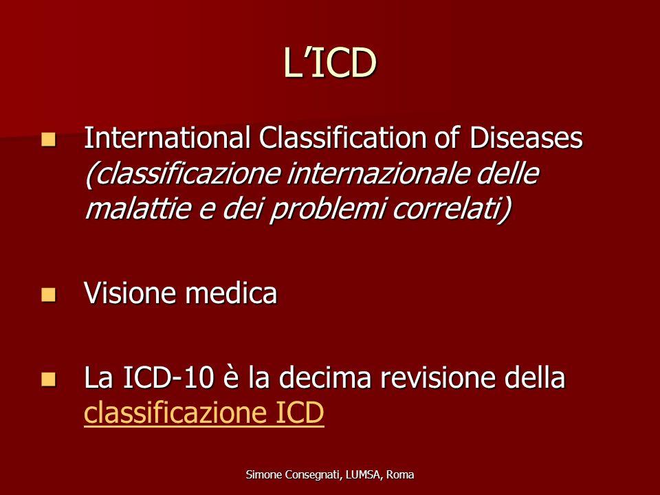 L'ICD International Classification of Diseases (classificazione internazionale delle malattie e dei problemi correlati) International Classification o