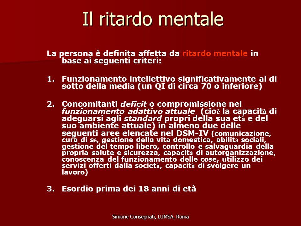 Il ritardo mentale Simone Consegnati, LUMSA, Roma La persona è definita affetta da ritardo mentale in base ai seguenti criteri: 1.Funzionamento intell