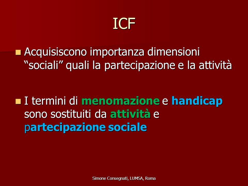 """ICF Acquisiscono importanza dimensioni """"sociali"""" quali la partecipazione e la attività Acquisiscono importanza dimensioni """"sociali"""" quali la partecipa"""