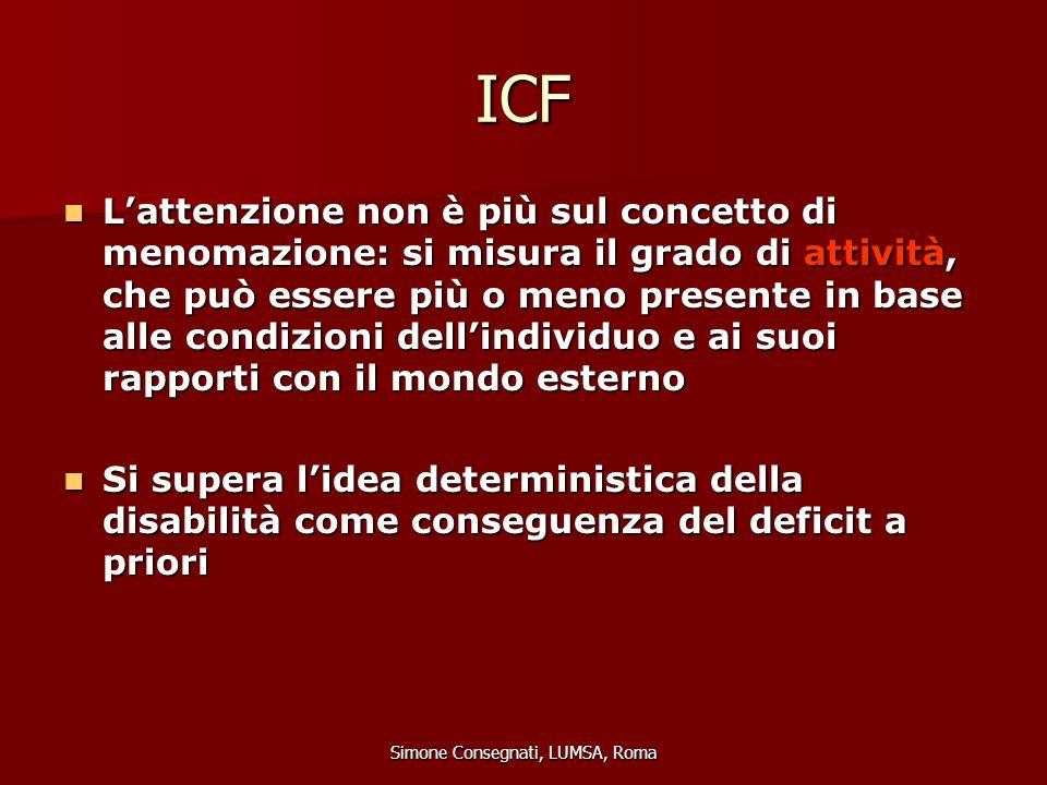ICF L'attenzione non è più sul concetto di menomazione: si misura il grado di attività, che può essere più o meno presente in base alle condizioni del