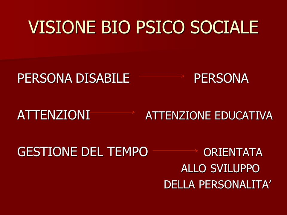 VISIONE BIO PSICO SOCIALE PERSONA DISABILE PERSONA ATTENZIONI ATTENZIONE EDUCATIVA GESTIONE DEL TEMPO ORIENTATA ALLO SVILUPPO ALLO SVILUPPO DELLA PERS