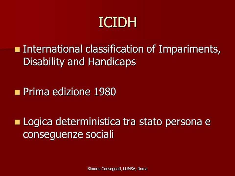 L'ICD International Classification of Diseases (classificazione internazionale delle malattie e dei problemi correlati) International Classification of Diseases (classificazione internazionale delle malattie e dei problemi correlati) Visione medica Visione medica La ICD-10 è la decima revisione della La ICD-10 è la decima revisione della classificazione ICD classificazione ICD Simone Consegnati, LUMSA, Roma