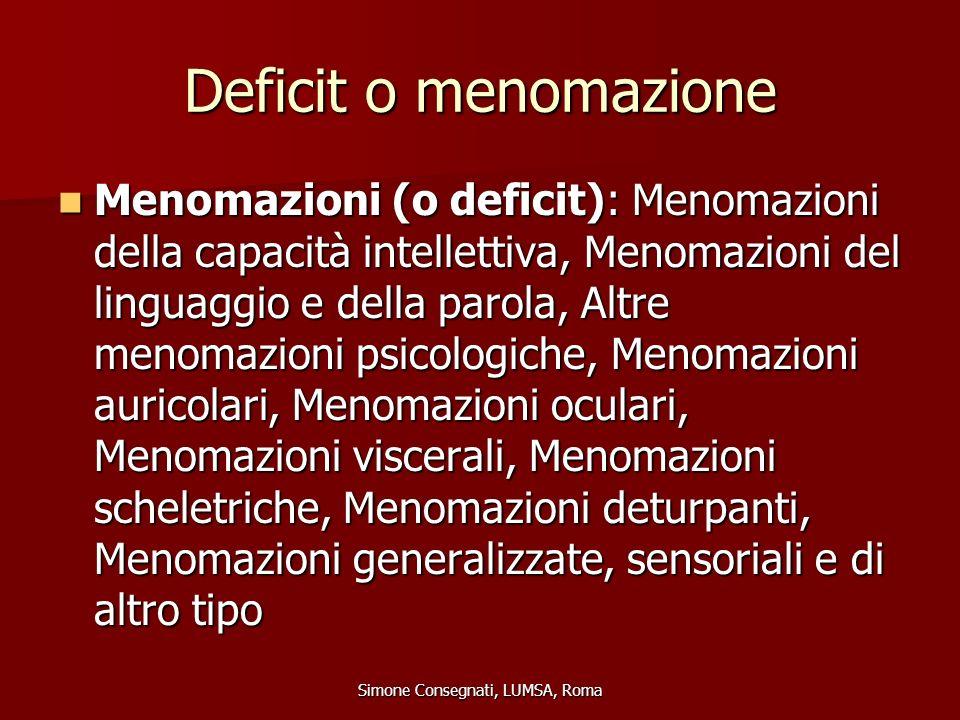 Deficit o menomazione Menomazioni (o deficit): Menomazioni della capacità intellettiva, Menomazioni del linguaggio e della parola, Altre menomazioni p