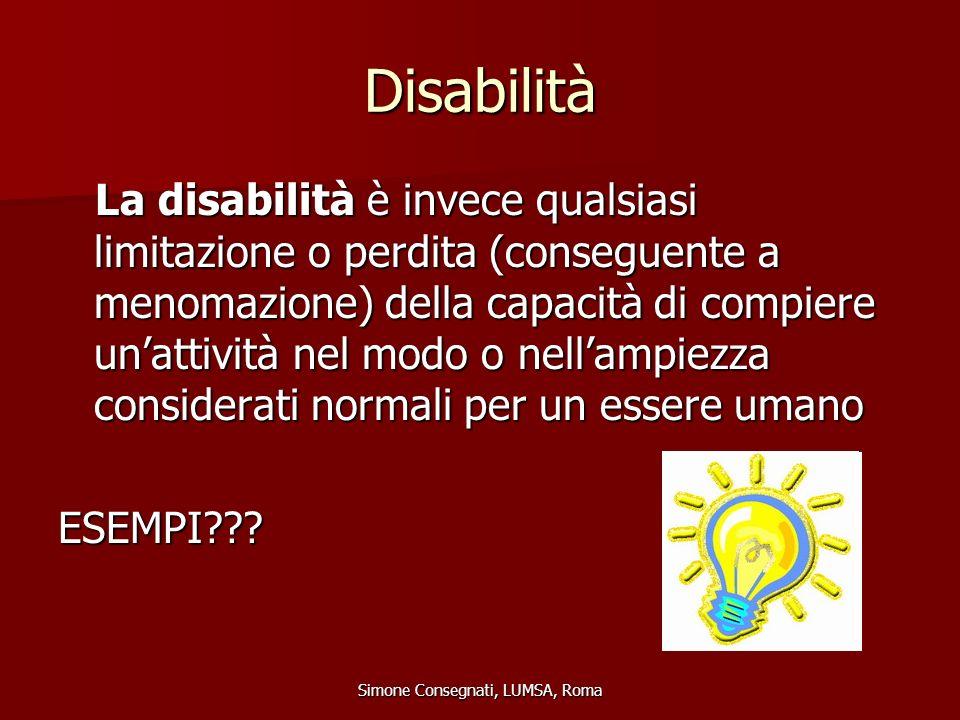 Disabilità La disabilità è invece qualsiasi limitazione o perdita (conseguente a menomazione) della capacità di compiere un'attività nel modo o nell'a