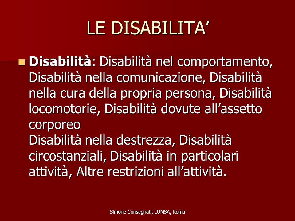 LE DISABILITA' Disabilità: Disabilità nel comportamento, Disabilità nella comunicazione, Disabilità nella cura della propria persona, Disabilità locom