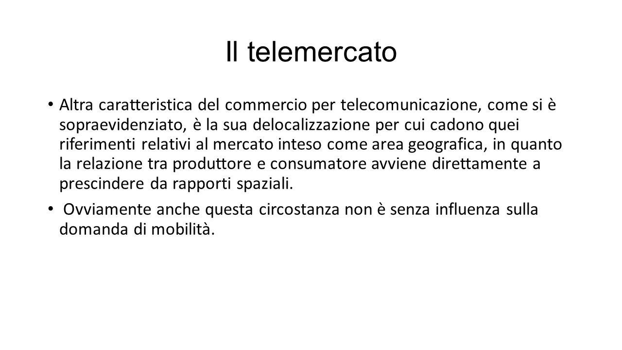 Il telemercato Altra caratteristica del commercio per telecomunicazione, come si è sopraevidenziato, è la sua delocalizzazione per cui cadono quei riferimenti relativi al mercato inteso come area geografica, in quanto la relazione tra produttore e consumatore avviene direttamente a prescindere da rapporti spaziali.