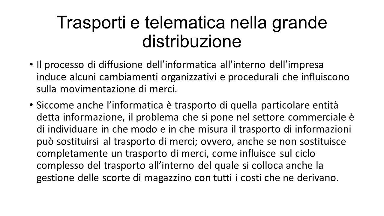 Trasporti e telematica nella grande distribuzione Il processo di diffusione dell'informatica all'interno dell'impresa induce alcuni cambiamenti organizzativi e procedurali che influiscono sulla movimentazione di merci.