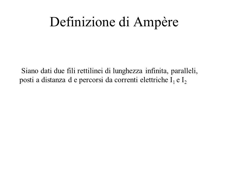 Definizione di Ampère Siano dati due fili rettilinei di lunghezza infinita, paralleli, posti a distanza d e percorsi da correnti elettriche I 1 e I 2