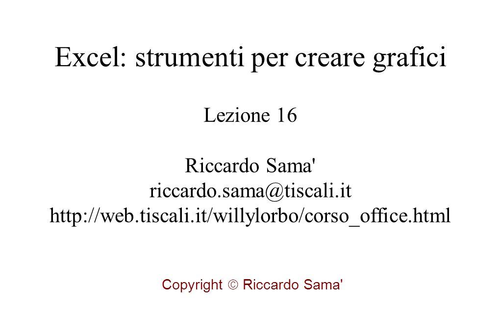 Lezione 16 Riccardo Sama riccardo.sama@tiscali.it http://web.tiscali.it/willylorbo/corso_office.html Copyright  Riccardo Sama Excel: strumenti per creare grafici