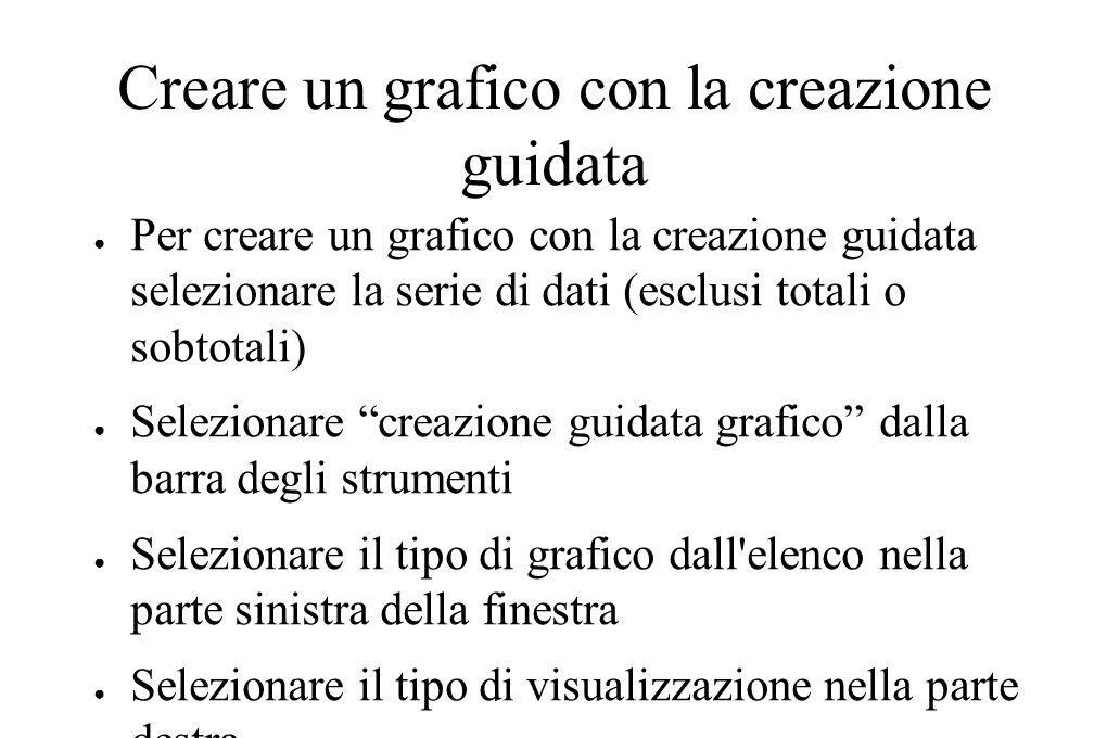 Creare un grafico con la creazione guidata ● Per creare un grafico con la creazione guidata selezionare la serie di dati (esclusi totali o sobtotali)