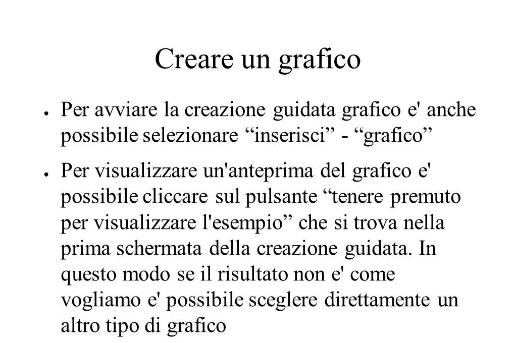 """Creare un grafico ● Per avviare la creazione guidata grafico e' anche possibile selezionare """"inserisci"""" - """"grafico"""" ● Per visualizzare un'anteprima de"""